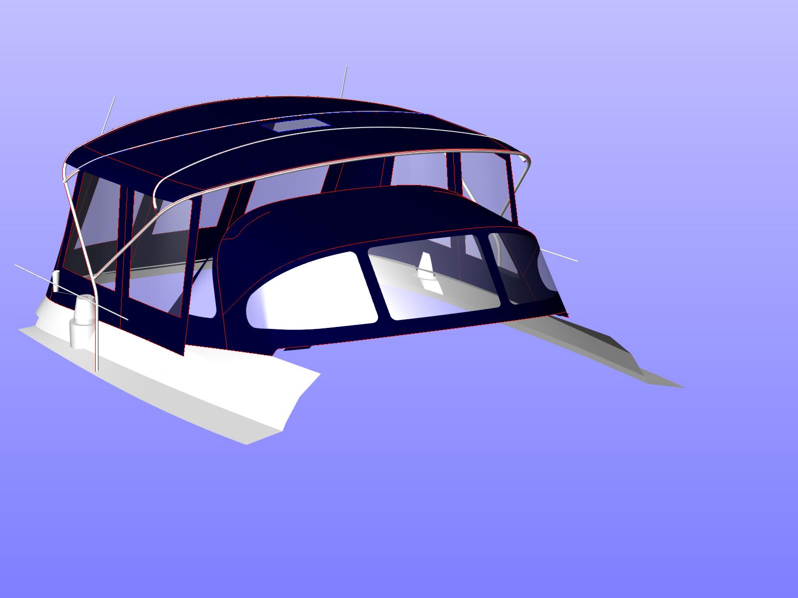 Bimini conversion 3d cad design for Ben 411