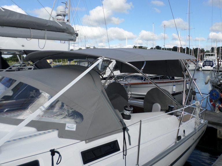 Bavaria Cruiser 41 Bimini shown with Tecsew standard Sprayhood