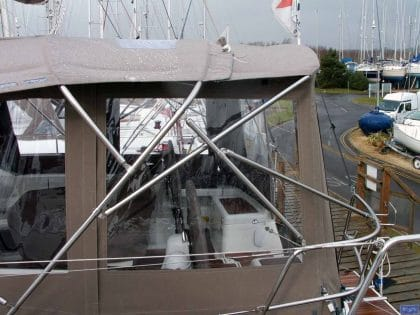 439 bimini conversion using factory fit sprayhood and bimini 7