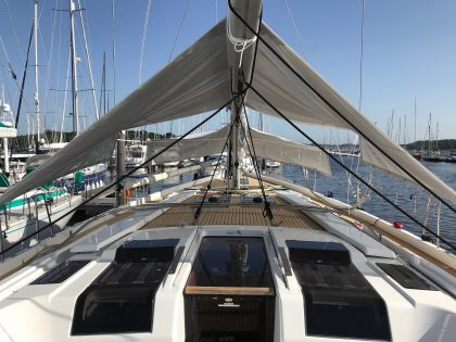 Hanse 588 Sun Awnings fitted on a Hanse 575 rear