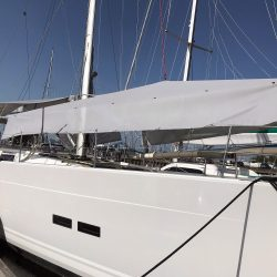 Hanse 588 Sun Awnings fitted on a Hanse 575 left side view 1