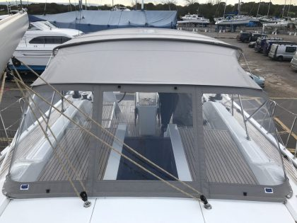 Beneteau Oceanis 51.1, model with NO ARCH, Bimini and zipped Sprayhood Connector front 4 Shown with Tecsew Bimini and zipped connector to Sprayhood
