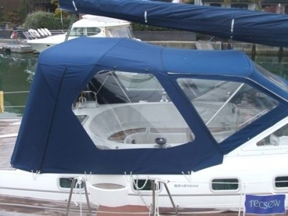 beneteau 42 cc cockpit enclosure fitted to factory supplied sprayhood 3