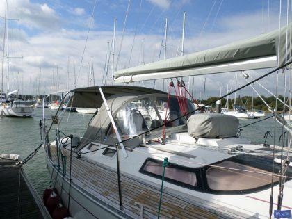 beneteau oceanis 390 bimini sail recut to raise boom 1