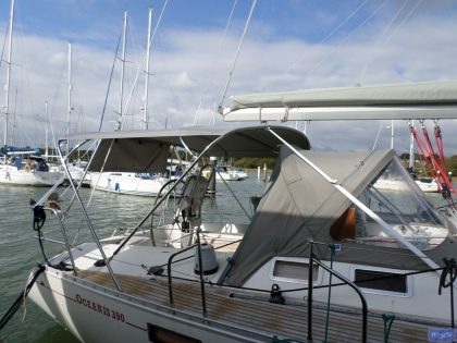 beneteau oceanis 390 bimini sail recut to raise boom 2