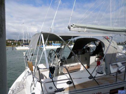 beneteau oceanis 390 bimini sail recut to raise boom 3