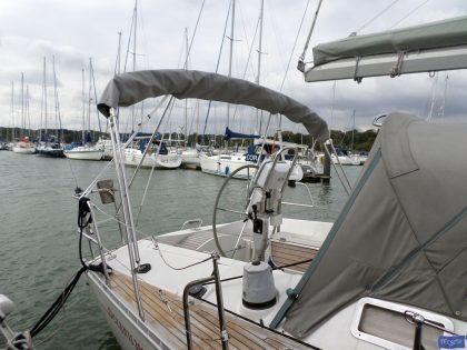 beneteau oceanis 390 bimini sail recut to raise boom 4