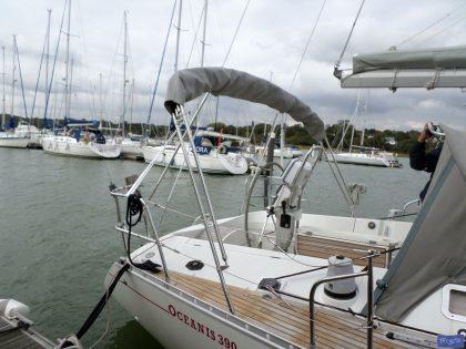 beneteau oceanis 390 bimini sail recut to raise boom 5