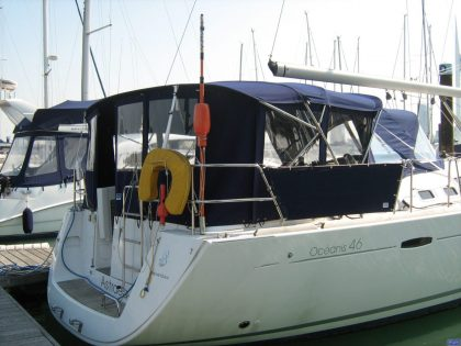 beneteau oceanis 46 bimini conversion to suit tecsew bimini and sprayhood 6