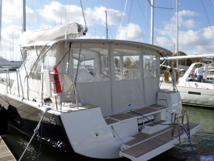 beneteau oceanis 55 bimini conversion fitted to factory bimini 1