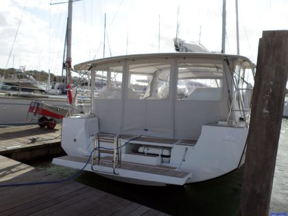 beneteau oceanis 55 bimini conversion fitted to factory bimini 2