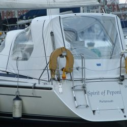 dehler 34 cockpit enclosure fitted to existing sprayhood spirit of peponi 1