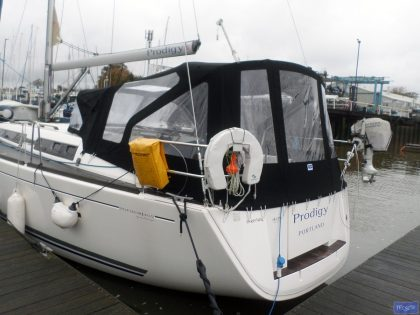 dufour 405 cockpit enclosure fitted to sprayhood recover 5