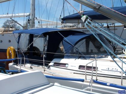 dufour 425 bimini conversion fitted to factory nv sprayhood and bimini 2