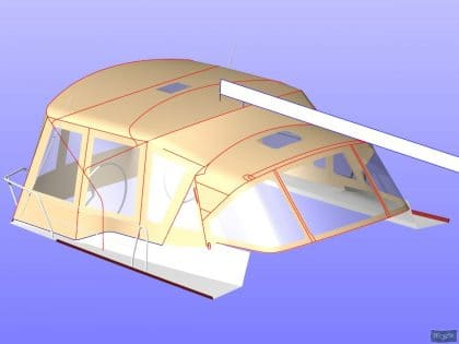 dufour 445 bimini conversion fitted to tecsew supplied bimini 9