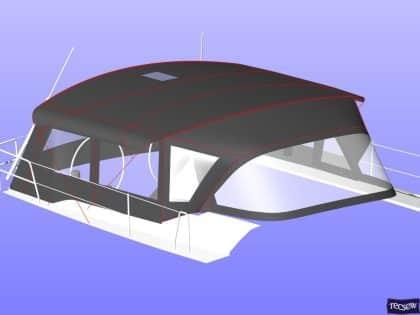 hanse 505 bimini conversion fitted to tecsew standard bimini 10