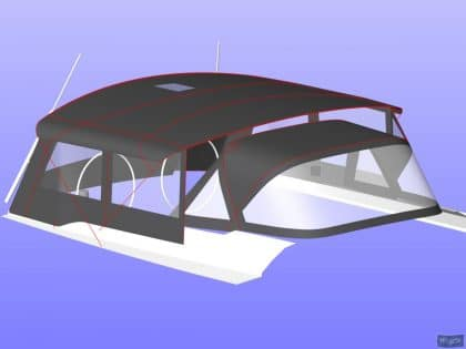 hanse 505 bimini conversion fitted to tecsew standard bimini 14