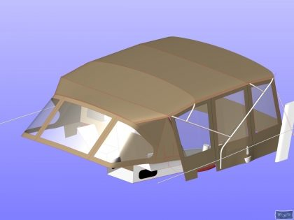 Allures 45 Bimini Conversion fitted to factory fit Bimini and Sprayhood_1