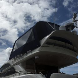 Fairline Phantom 48 Bimini showing optional side curtains with windows and rear curtain_11