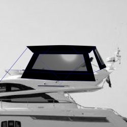 Fairline Phantom 48 Bimini showing optional side curtains with windows and rear curtain_16