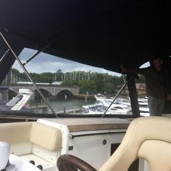 Fairline Phantom 48 Bimini showing optional side curtains with windows and rear curtain_10