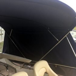Fairline Phantom 48 Bimini showing optional side curtains and rear curtain WITHOUT windows_19