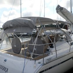 Bavaria Cruiser 41 Bimini, this boat also has a Cockpit Enclosure fitted which is shown stowed with the Bimini_6