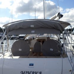 Bavaria Cruiser 41 Bimini, this boat also has a Cockpit Enclosure fitted which is shown stowed with the Bimini_7