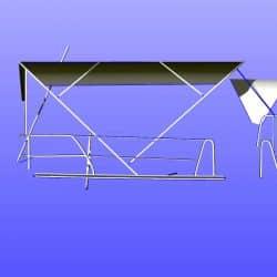Beneteau 50, prior 2006 model, Bimini extending aft of backstays and optional side shade panels_10