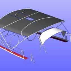 Beneteau 50, prior 2006 model, Bimini extending aft of backstays and optional side shade panels_11