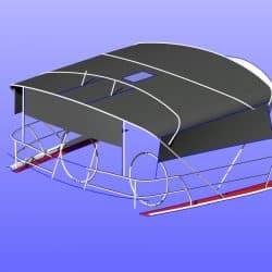 Beneteau 50, prior 2006 model, Bimini extending aft of backstays and optional side shade panels_13