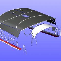 Beneteau 50, prior 2006 model, Bimini extending aft of backstays and optional side shade panels_14