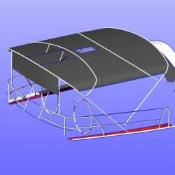 Beneteau 50, prior 2006 model, Bimini extending aft of backstays and optional side shade panels_9