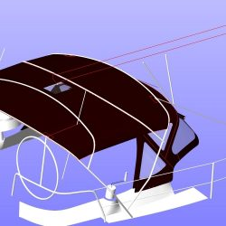 Beneteau Oceanis 361, 4 bar bimini extended aft of backstays_11