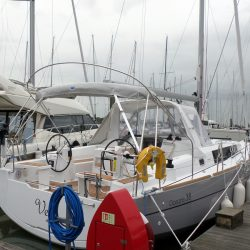 Beneteau Oceanis 38 Bimini, shown with optional Tecsew Sprayhood_12