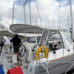 Beneteau Oceanis 38 Bimini, shown with optional Tecsew Sprayhood_1