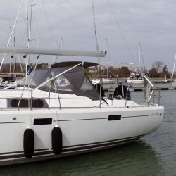 Hanse 415 4 bar Bimini with customer supplied solar panels fitted_1