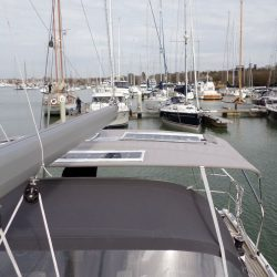 Hanse 415 4 bar Bimini with customer supplied solar panels fitted_4