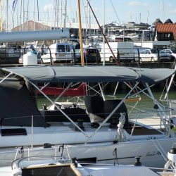 Hanse 505, Bimini with optional extension panel aft of backstays and led lights