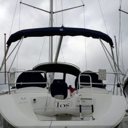 Jeanneau Sun Odyssey 39ds Bimini, shown fitted on a boat without an arch_21