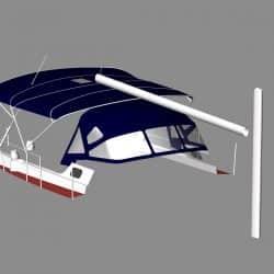 Jeanneau Sun Odyssey 43ds Bimini, new design with aft extension_7