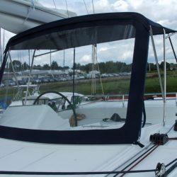 Lagoon 450 Flybridge Bimini and zipped front screen_5