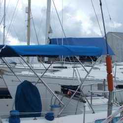 Moody 346 Bimini with dual height capability, April Mist _1