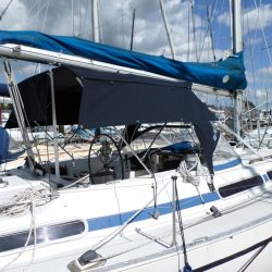 Moody 376 Bimini, standard design shown with optional side shade curtains_2