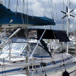 Moody 376 Bimini, standard design shown with optional side shade curtains_4
