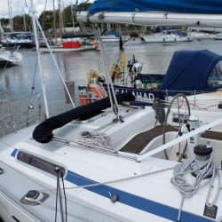 Moody 376 Bimini, standard design shown with optional side shade curtains_5