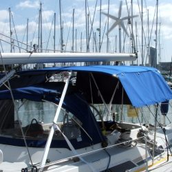 Moody 425 Bimini, later design, shown with optional side shade curtains_6