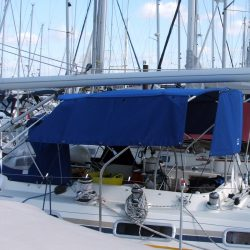 Moody 425 Bimini, later design, shown with optional side shade curtains_7