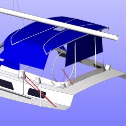 Moody 425 Bimini, later design, shown with optional side shade curtains_12
