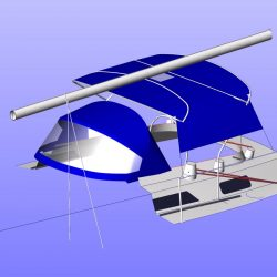 Moody 425 Bimini, later design, shown with optional side shade curtains_13